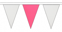 WHITE AND PINK TRIANGULAR BUNTING - 10m / 20m / 50m LENGTHS